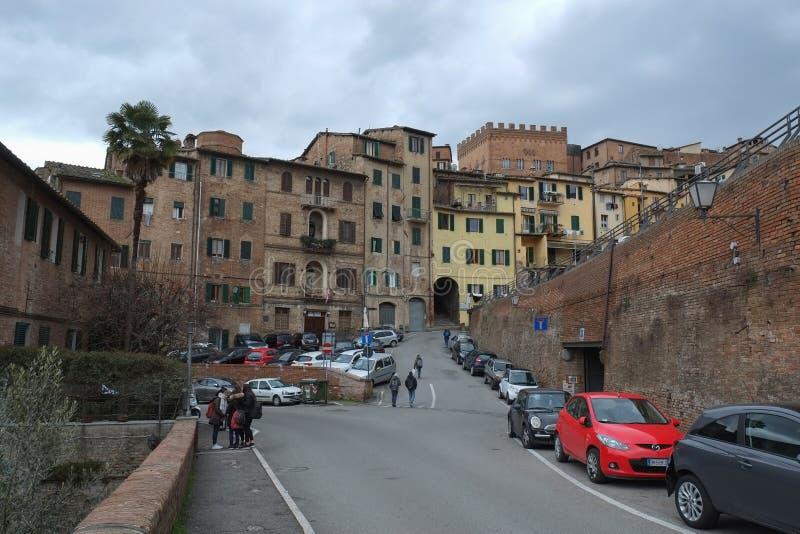 正方形在锡耶纳,意大利 库存照片