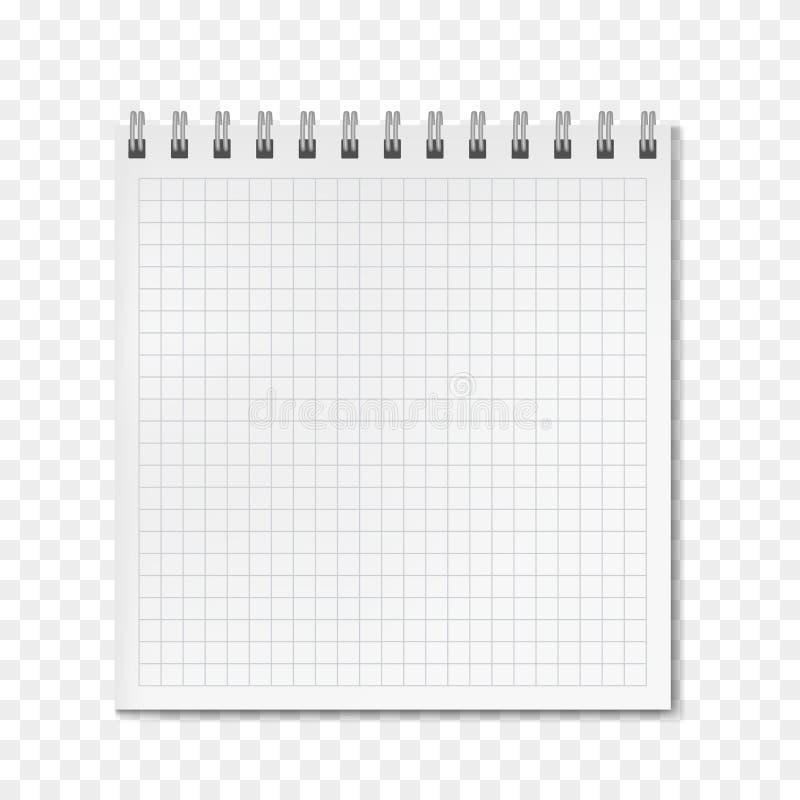 正方形垂直的传染媒介现实被统治的笔记本 皇族释放例证