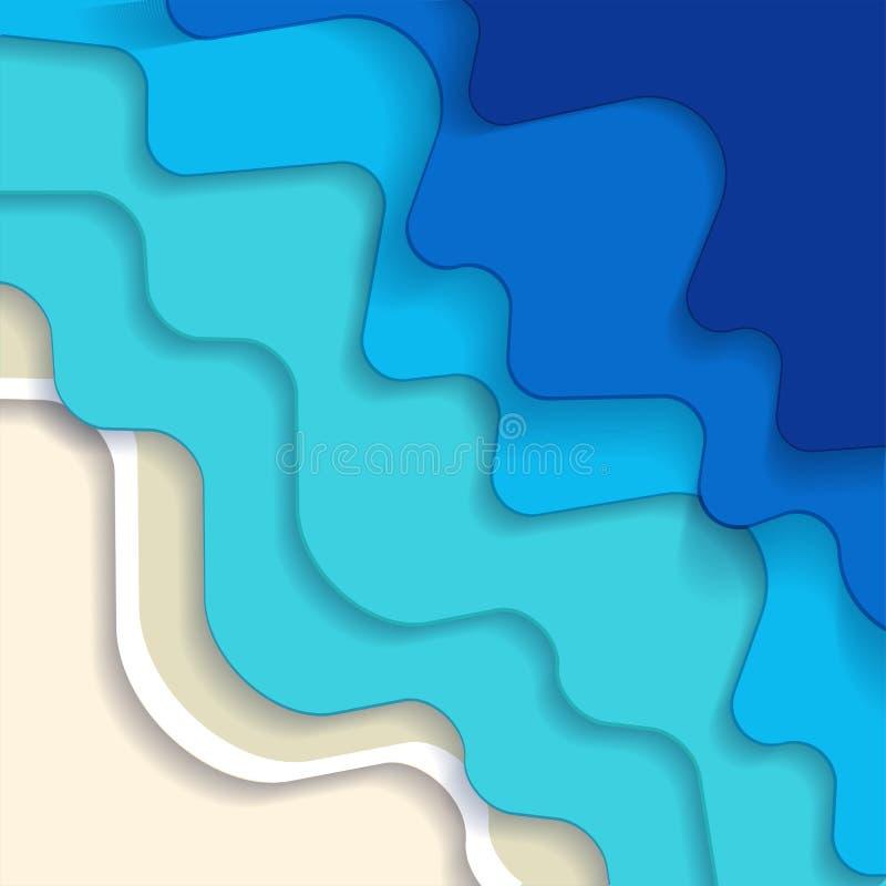 正方形摘要蓝色土耳其玉色马尔代夫海洋和海滩夏天背景与纸波浪和沙子海岸热带海 皇族释放例证