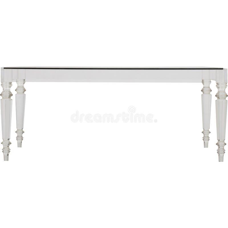 正方形清楚的丙烯酸酯的现代咖啡桌,瀑布玻璃咖啡桌葡萄酒玻璃瀑布咖啡桌,手画咖啡 库存照片