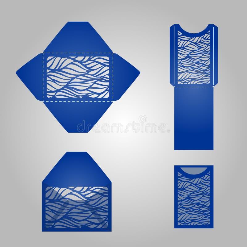 正方形激光裁减信封模板 向量例证