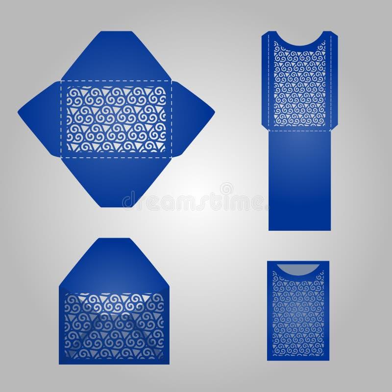 正方形激光裁减信封模板 皇族释放例证