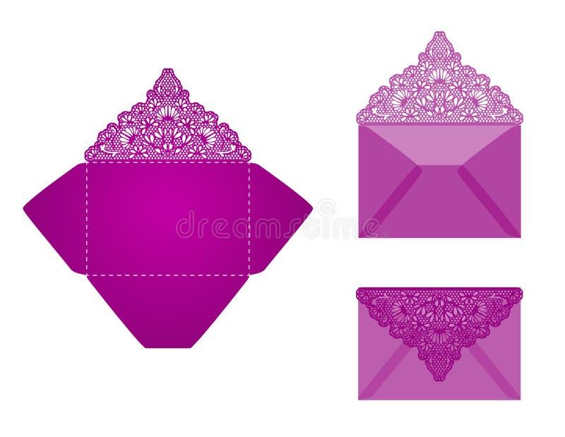 正方形激光裁减信封模板 库存例证