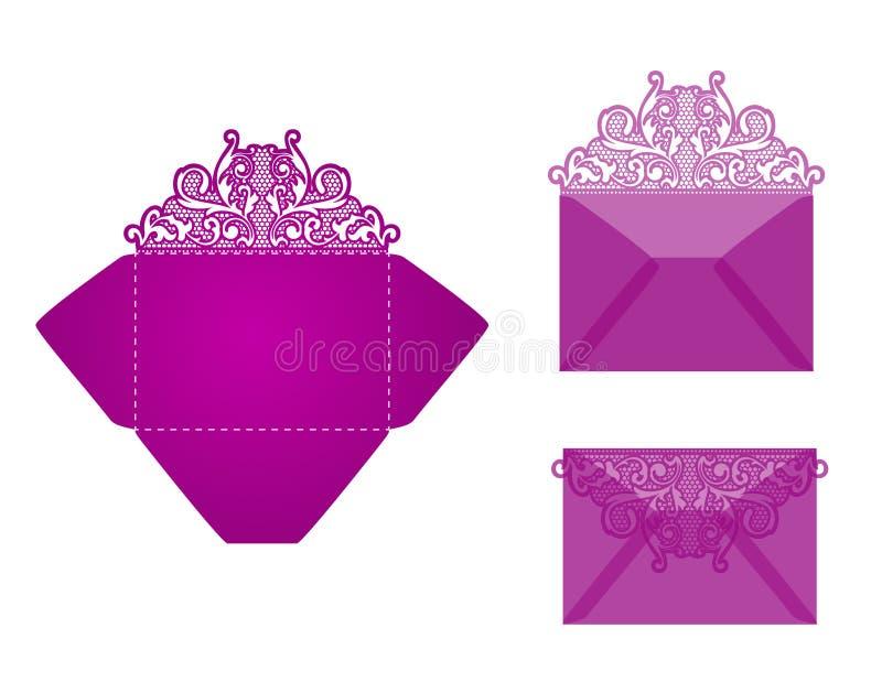 正方形激光裁减邀请模板 皇族释放例证