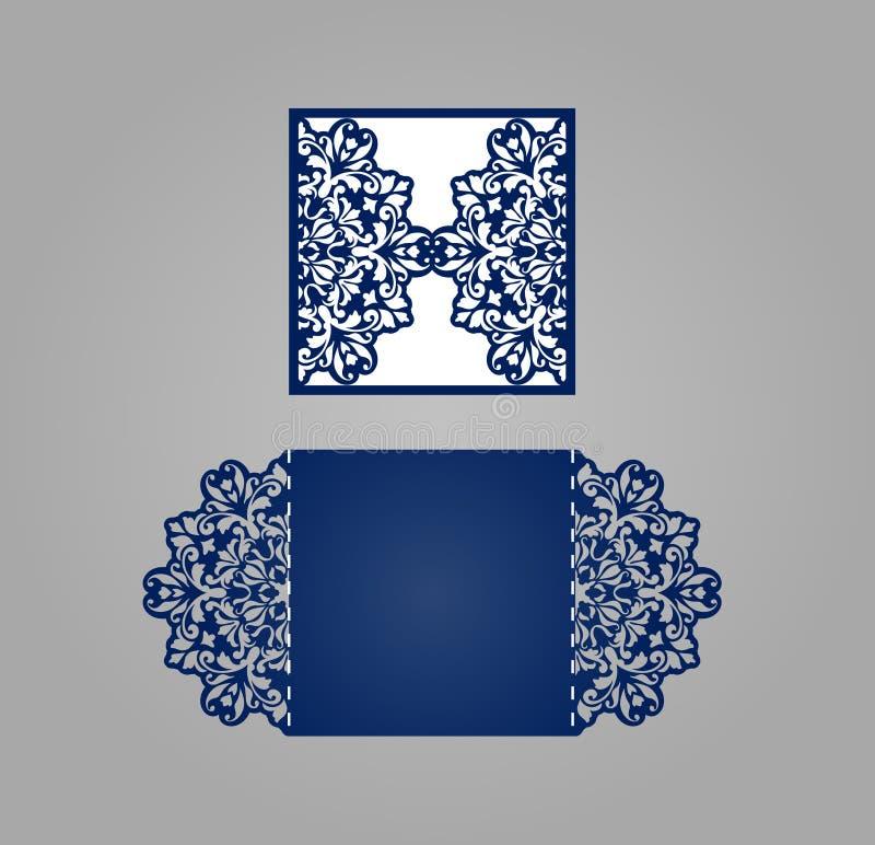 正方形激光裁减邀请模板 库存例证