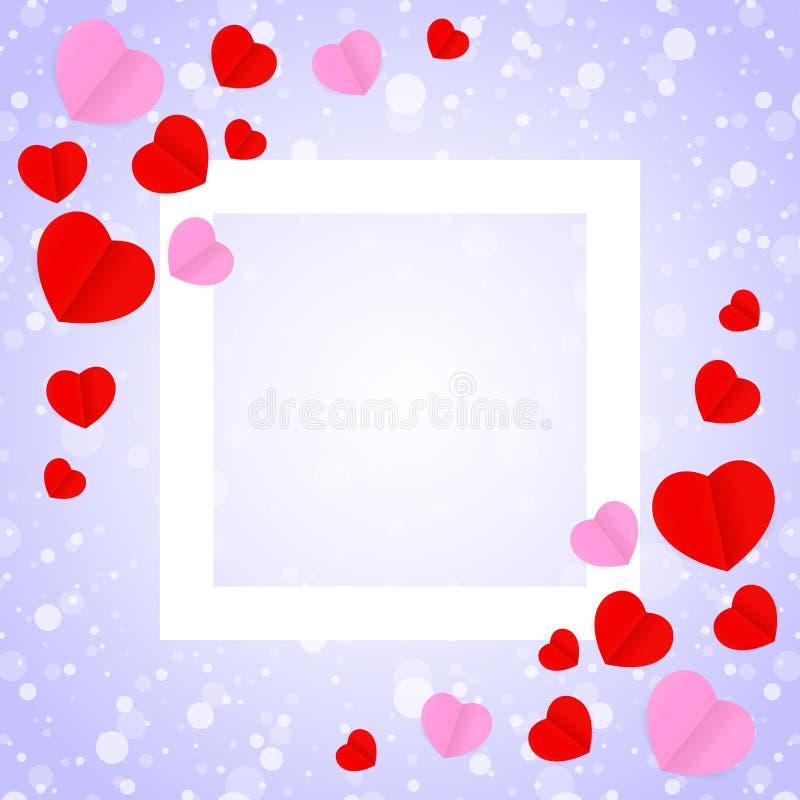 正方形白色框架和红色桃红色心形模板横幅华伦泰卡片背景的,许多心脏在紫色梯度塑造 皇族释放例证
