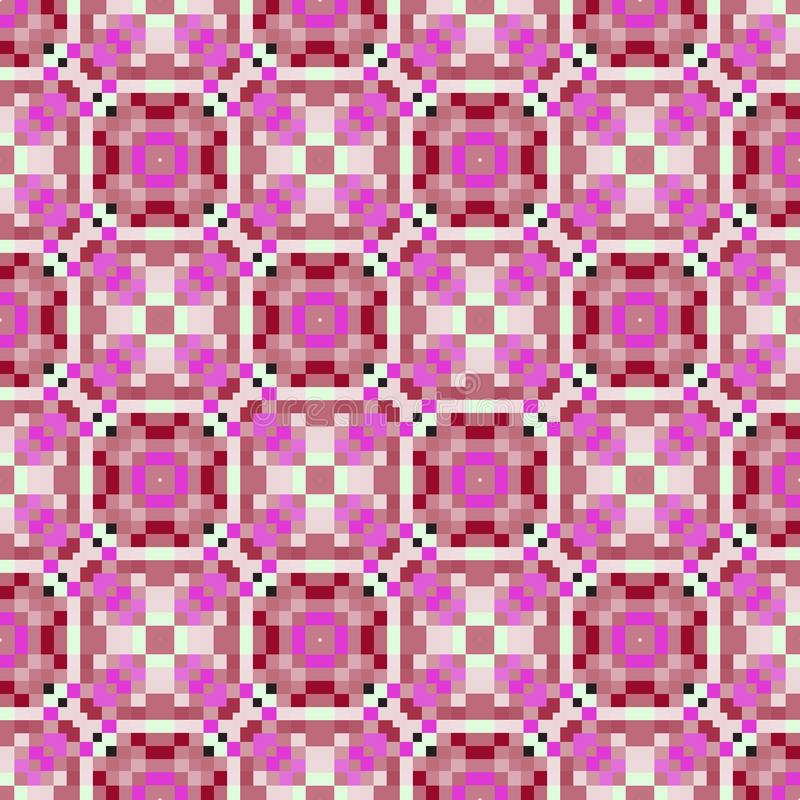 正方形的桃红色,白色和黑几何重复的传染媒介样式, 库存例证