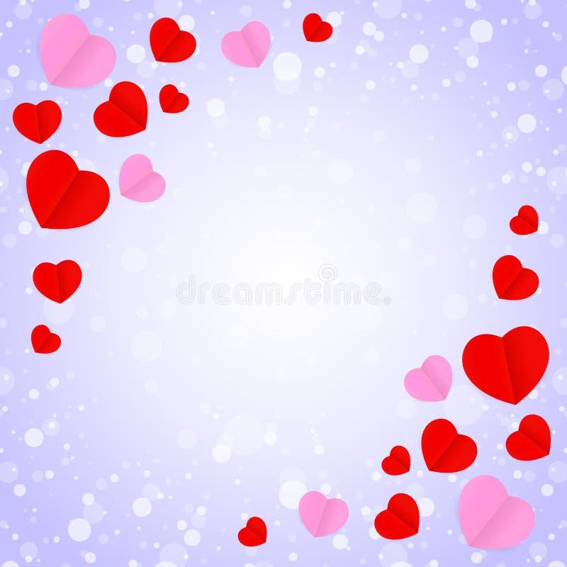 正方形空的框架和红色桃红色心形模板横幅华伦泰卡片背景的,许多心脏在紫色梯度塑造 库存例证