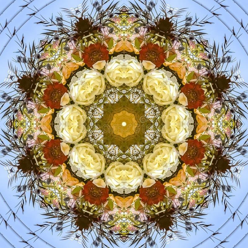 正方形花摘要显示在圆安排的在婚礼在加利福尼亚 库存图片