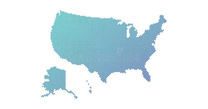 正方形被加点的梯度美国为背景,小册子网映射 : 向量例证