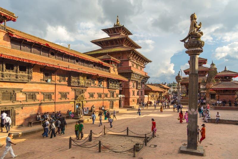正方形durbar在Patan,古城在加德满都谷地 免版税库存图片