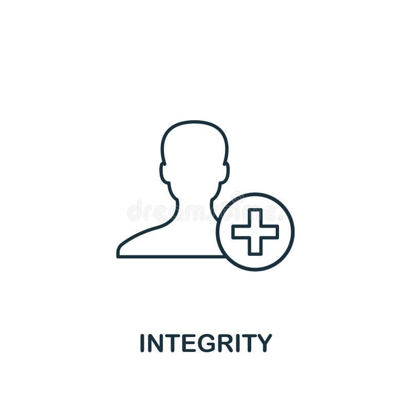 正直象 稀薄的线从商业道德象汇集的设计标志 网络设计的映象点完善的正直象,应用程序, 皇族释放例证