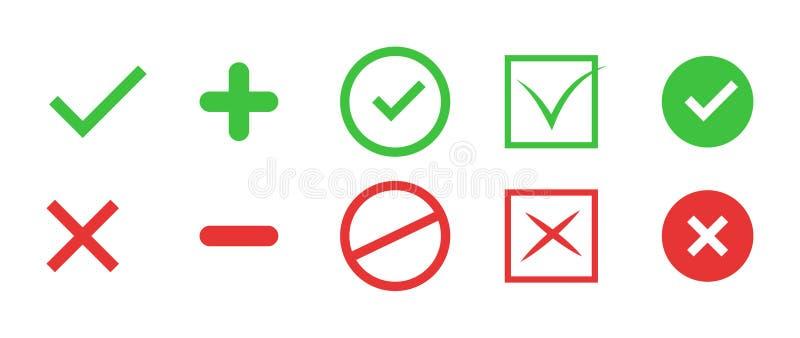 正确和不正确象 真实和错误标志 向量 库存例证