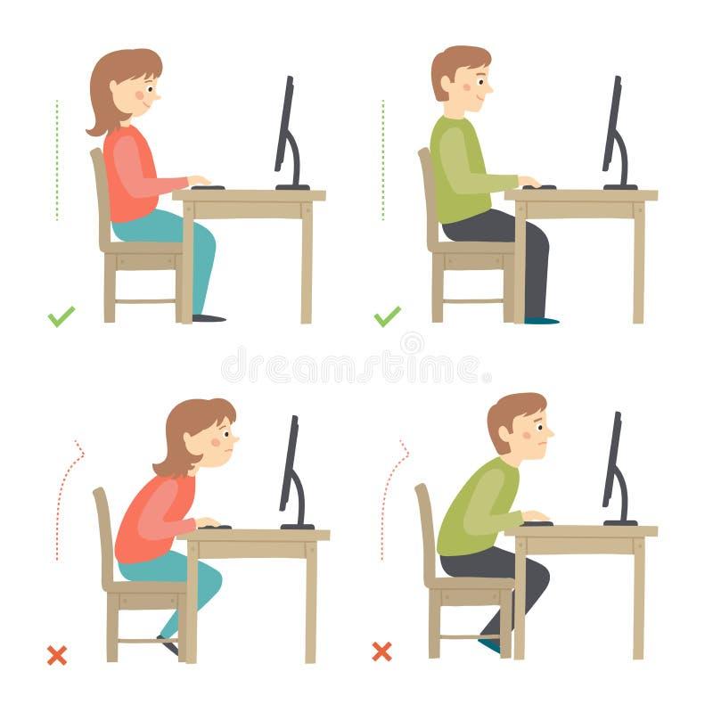 正确和不正确活动在每日惯例摆姿势-工作 向量例证