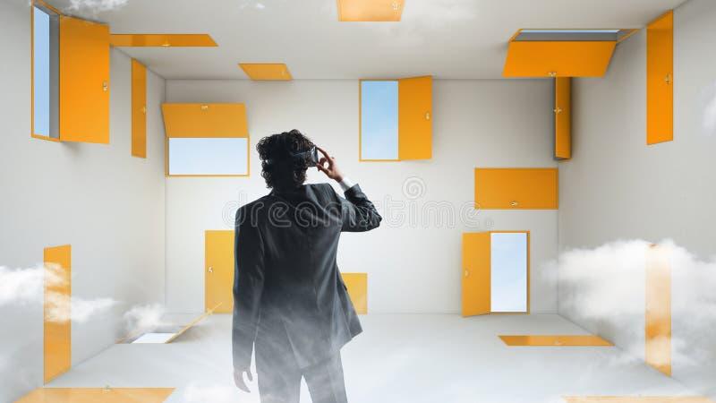 正确的政策制定和虚拟现实 r 库存图片