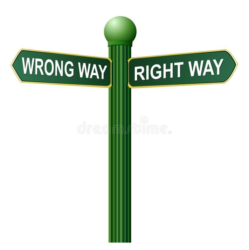 正确的符号街道方式错误 皇族释放例证