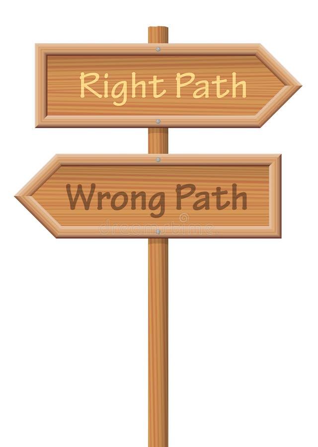 正确的道路错误道路木路标 库存例证