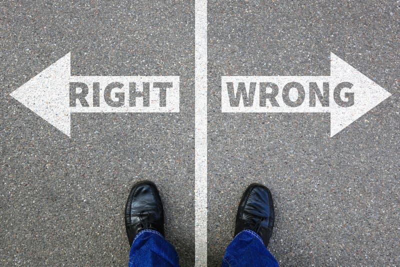 正确的错误企业概念商人目标成功解答 免版税库存图片