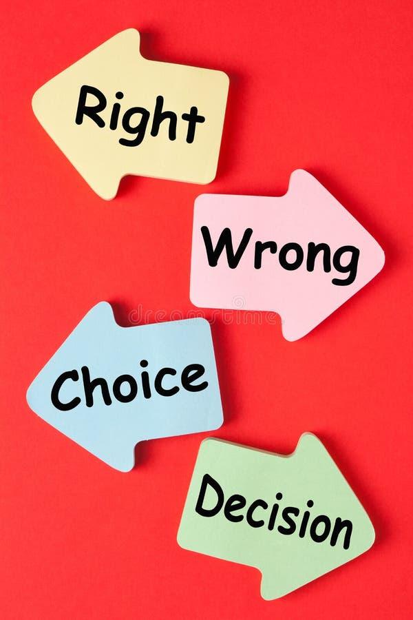 正确的错误挑选决定 库存图片
