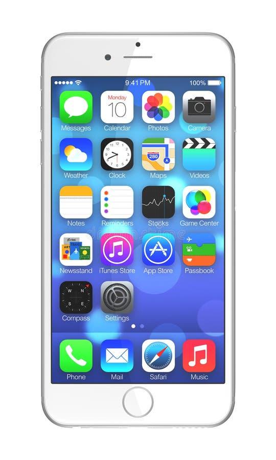 正苹果计算机iPhone 6 库存例证