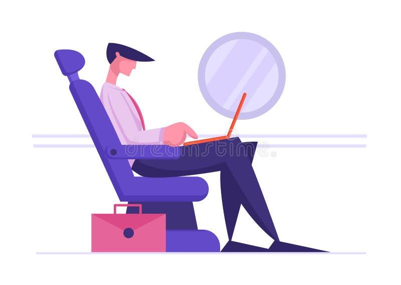 正装的年轻商人在舒适的飞机位子和工作坐膝上型计算机 在飞机的乘客开会 库存例证