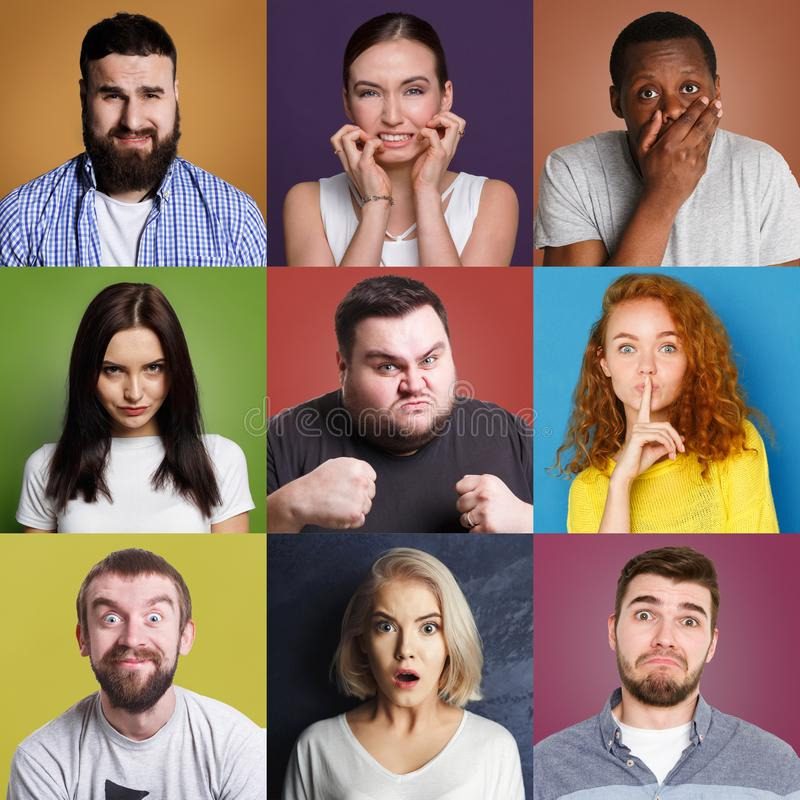 正面不同的青年人和被设置的消极情感 免版税库存照片