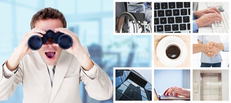 正面商人的综合图象使用双筒望远镜的 免版税库存图片