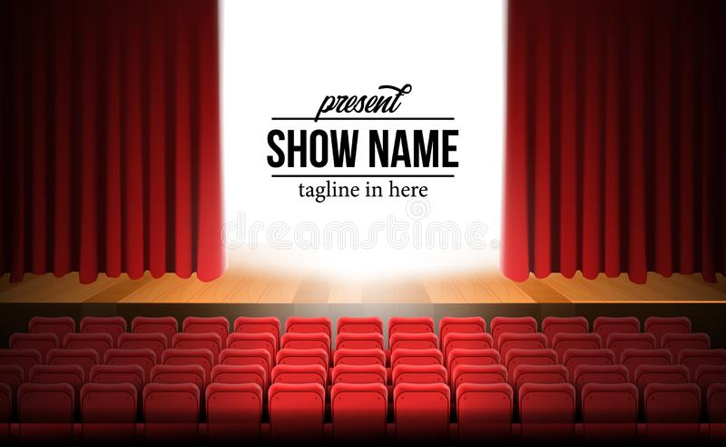 正面图剧院与红色帷幕和木地板和空的红色位子的电影阶段 库存例证