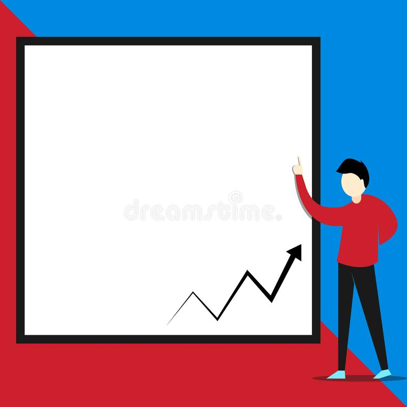 正面图指向与空的文本的空白的长方形的年轻人身分 增长的之字形向上箭头 ?? 向量例证