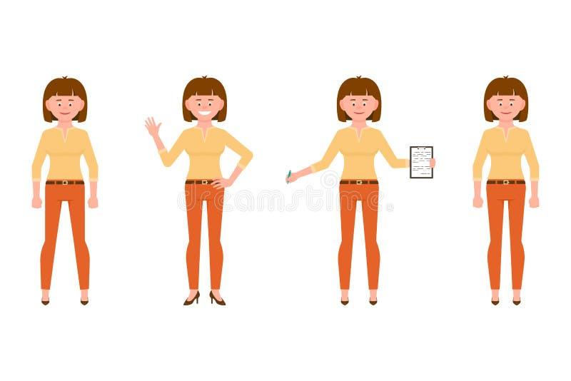 正面图身分,挥动的你好,写笔记女孩动画片字符集 愉快,俏丽,滑稽,友好的棕色头发女勤杂工 皇族释放例证