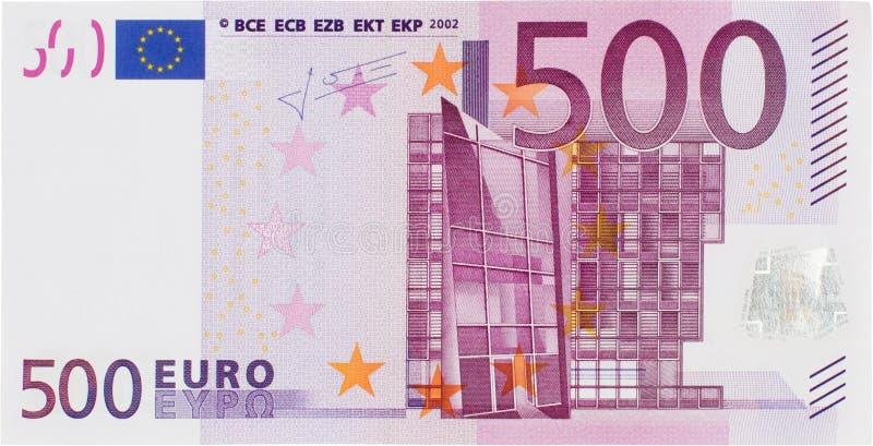 正面图500欧元比尔 库存照片