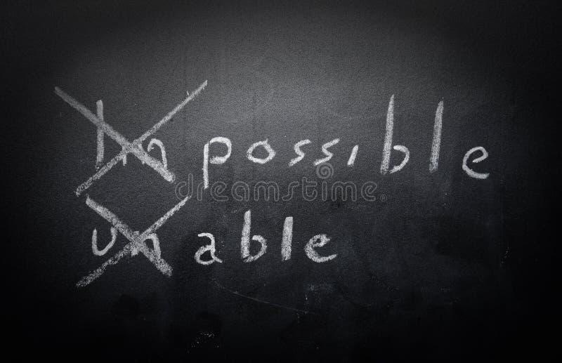 正面想法的概念手写在有m的黑黑板 库存照片