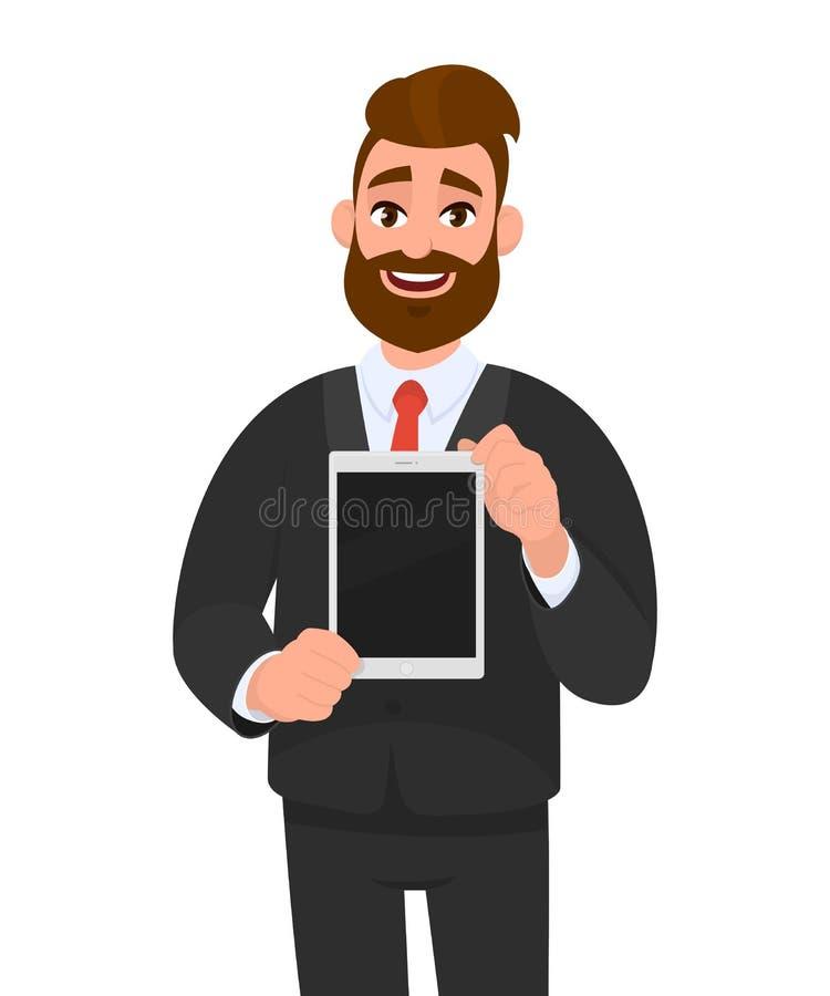 正面愉快的年轻有胡子的商人陈列/拿着数字片剂计算机黑屏在手上 现代技术 库存例证