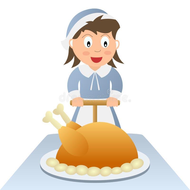 正餐准备好的感恩 库存例证