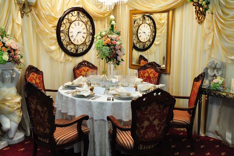 正餐接收表婚礼 库存照片