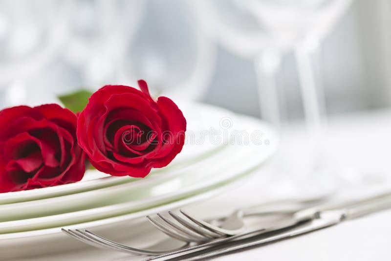 正餐浪漫设置 库存图片