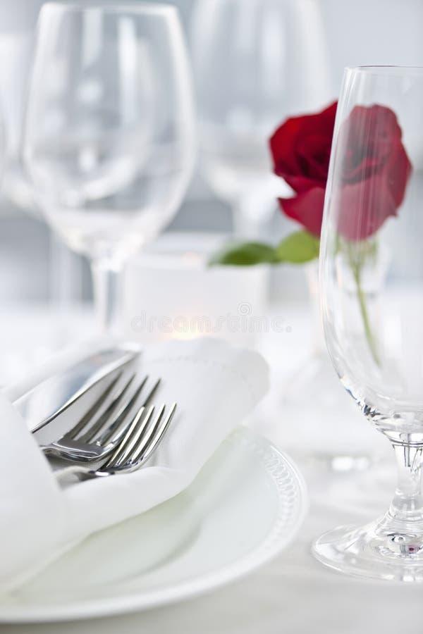 正餐浪漫设置 免版税图库摄影