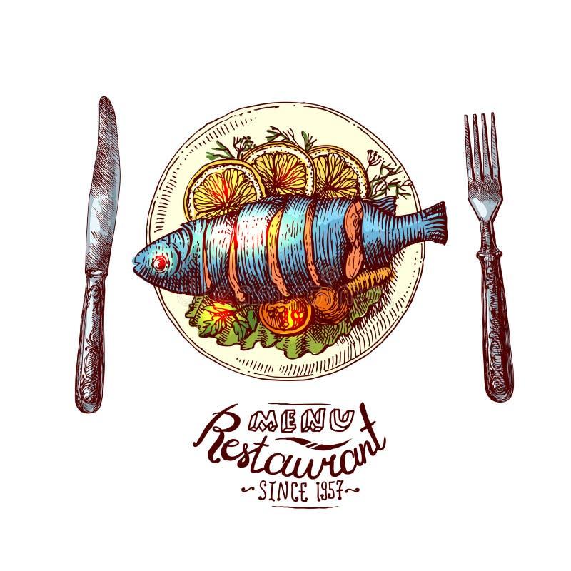 正餐的鱼 库存例证