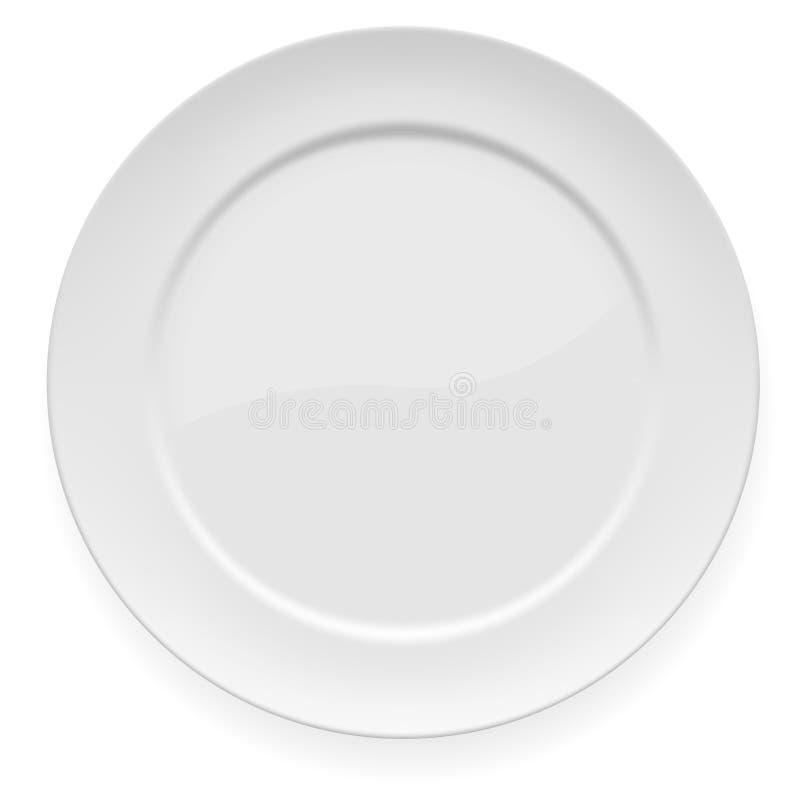 正餐空的牌照白色 皇族释放例证