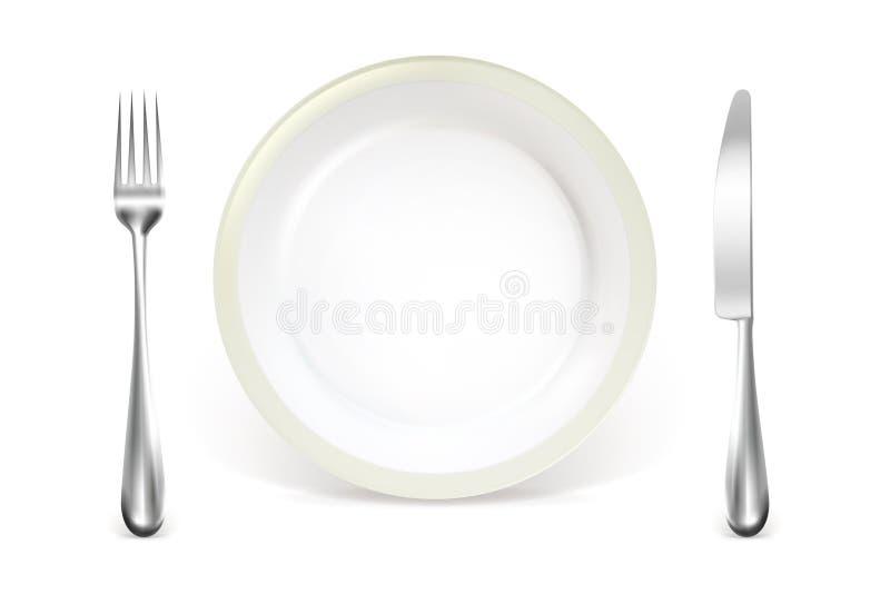 正餐餐位餐具 库存例证