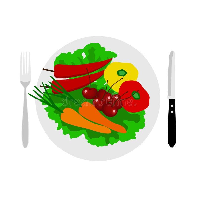 正餐eps例证jpeg时间向量 刀叉餐具 素食主义 库存例证
