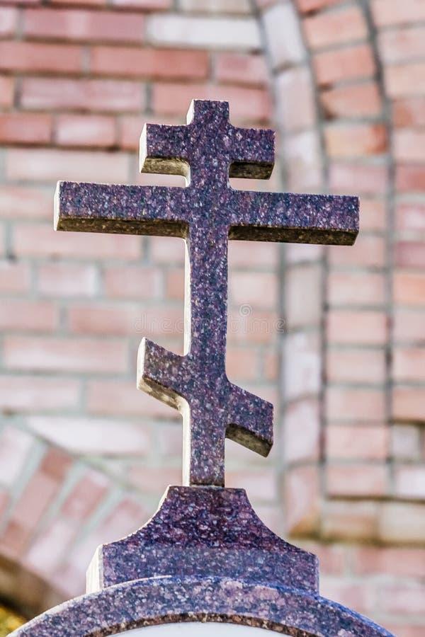 正统十字架由花岗岩制成 免版税库存照片
