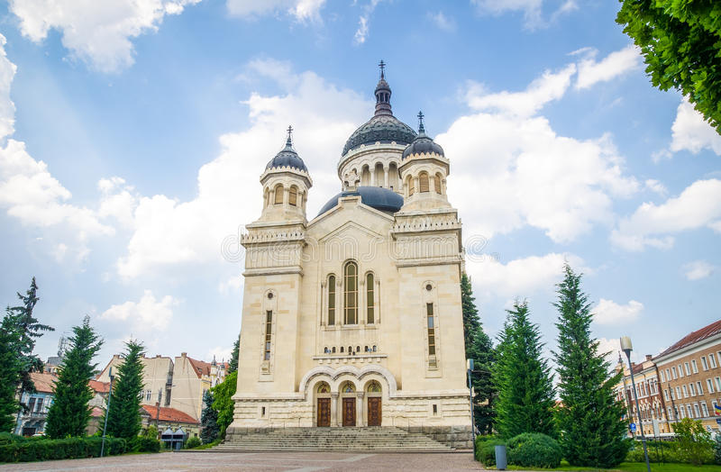 正统大教堂在罗马尼亚的科鲁Napoca,特兰西瓦尼亚地区 免版税库存图片