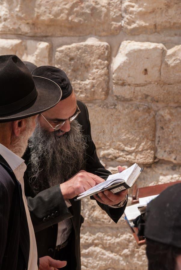 正统犹太人祈祷在西部墙壁,耶路撒冷 库存图片