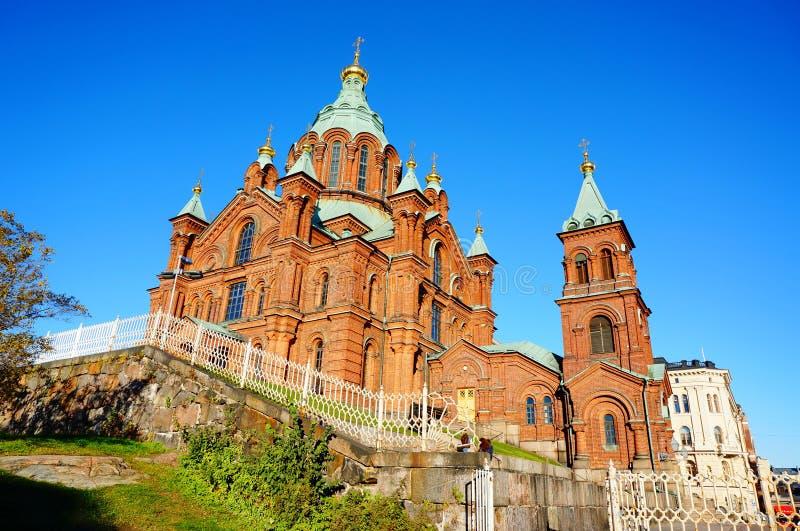 正统Uspensky大教堂在赫尔辛基,芬兰 库存照片