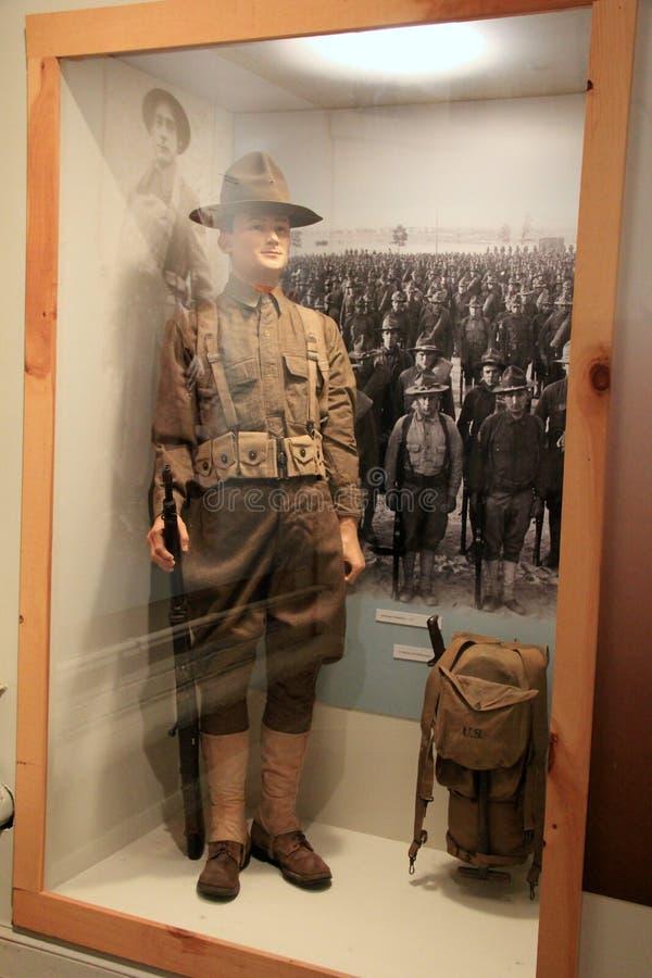 步兵显示在旁边室室、纽约州军事博物馆和退伍军人研究中心,萨拉托加, 2015年 免版税库存照片