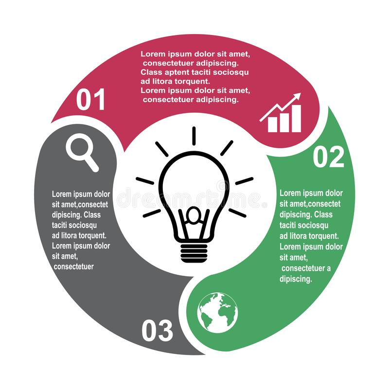 3步在三种颜色的传染媒介元素与标签, infographic图 3个步或选择的企业概念与电灯泡 皇族释放例证