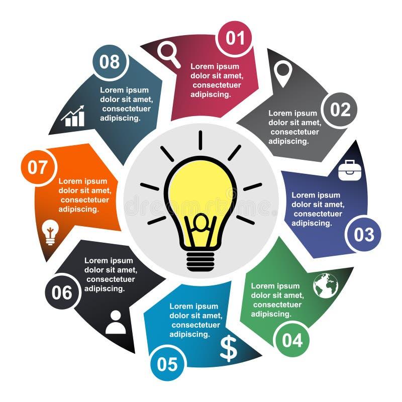 8步在八种颜色的传染媒介元素与标签,infographic图 8个步或选择的企业概念与电灯泡 向量例证