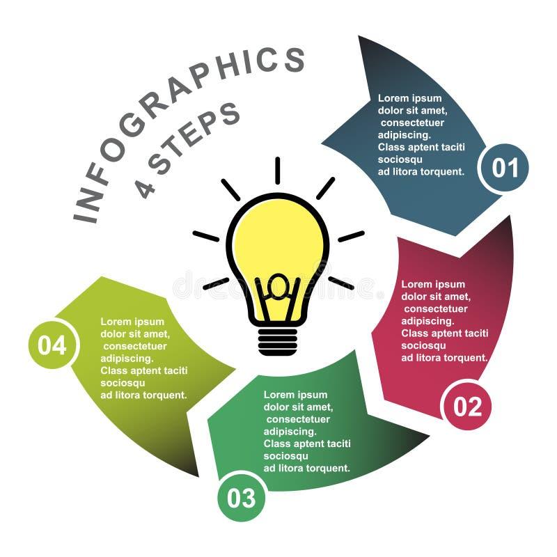 4步在四种颜色的传染媒介元素与标签, infographic图 4个步或选择的企业概念与电灯泡 库存例证
