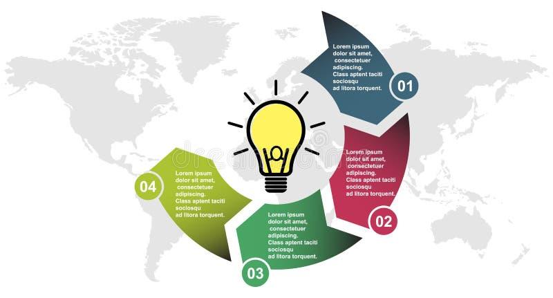 4步在四种颜色的传染媒介元素与标签, infographic图 4个步或选择的企业概念与电灯泡 向量例证